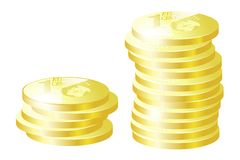 Gold coins. Illustration. Two stacks of gold coins on white background royalty free illustration