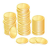 Gold coins. Over white for your design Royalty Free Stock Images