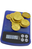 Gold coins. On the white background Stock Photography