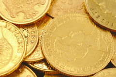 Gold coins. Collection of golden coins Royalty Free Stock Photography