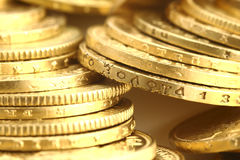 Gold coins. Old gold coins and gold investment coins Stock Photos