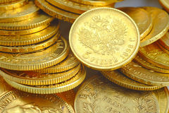Gold coins. Collection of golden coins Stock Photo