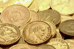 Gold coins. Background of ancient gold coins stock photos