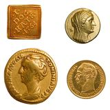 Gold coins. 4 different genuine antique gold coins Stock Photography