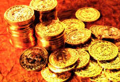 Gold Coins 2. Gold Coins With Color and Blur royalty free stock image