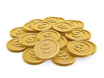Gold coins. Dollar symbol gold coins pile on white background Stock Photo