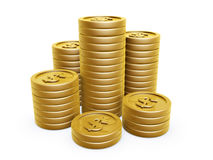 Gold coins. Dollar symbol gold coins pile on white background Stock Photography