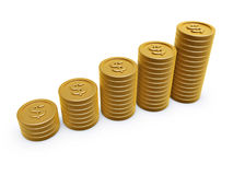 Gold coins. Dollar symbol gold coins chart on white background Stock Photos