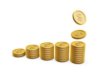 Gold coins. Dollar symbol gold coins pile on white background Royalty Free Stock Photos