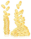 Gold coins. Illustration over white Royalty Free Stock Photo