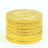 Gold Coins. Stacked krugerrand, wealth, currency, money Stock Photo