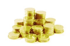 Gold coins. Isolated on white background Royalty Free Stock Photo