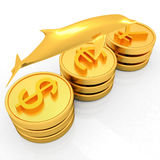 Gold coins with 3 major currencies with golden dolphin Royalty Free Stock Photos