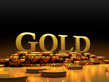 Gold coins 3d image. 3d render of Gold coins Royalty Free Stock Photo