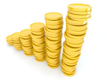 Gold coins 3D. Isolated on white background vector illustration
