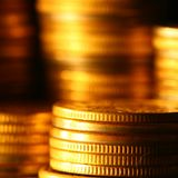 Gold coins. Shiny finance background Royalty Free Stock Photography
