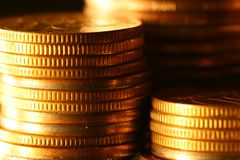 Gold coins. Shiny finance background royalty free stock image