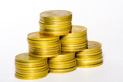 Gold coins. Pyramid Royalty Free Stock Photo