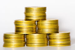 Gold coins. Pyramid Royalty Free Stock Photos