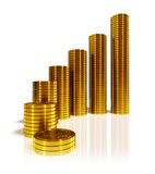 Gold coins. Stacks of gold coins on white background Royalty Free Stock Photo