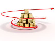 Gold coins around which raises a red arrow Stock Image