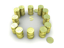 Gold coins arranged in a circle. 3D Royalty Free Stock Photo