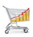 Gold coins with arrow in shopping cart Stock Images