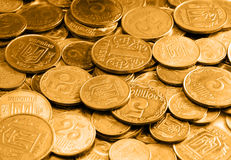 Gold coins as a background or texture Royalty Free Stock Photos