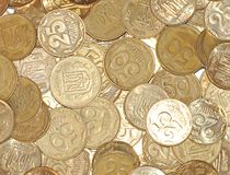 Gold coins as a background Stock Photo
