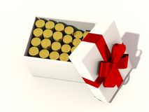 Gold coins as a gift.  Royalty Free Stock Images