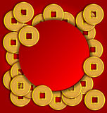 Gold coins background for Chinese New Year. Card Stock Photo