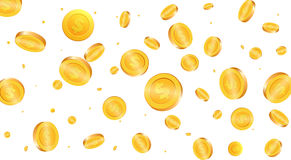 Gold coins background. Flying coins Royalty Free Stock Image