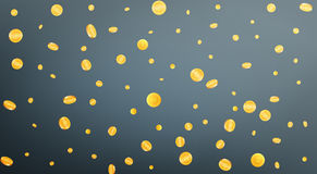 Gold coins background. Flying coins in different shapes Stock Image