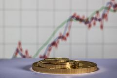 Gold coins on the background of the growth chart. Selective focus stock images