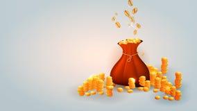 Gold coins in a bag vector illustration