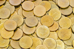 Gold coins 2 baht money in Thailand stock photos