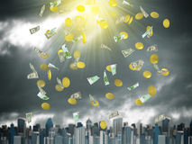 Gold coins and banknotes falling from the sky Stock Images