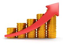 Gold coins bar graph with red arrow Stock Photos