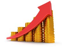 Gold coins bar graph with red arrow Royalty Free Stock Photography