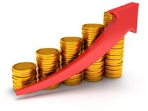 Gold coins bar graph with red arrow Stock Images