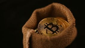 Gold coins bitcoin in bag revolve on black background stock footage