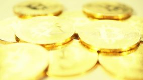 Gold coins are bitcoin. Blockchain is the technology of the future. 4k stock footage