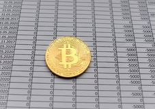 Gold Coins Bitcoin on white background with numbers. price of bi. Tcoin concept,  numbers of zero Royalty Free Stock Photos