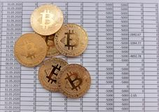Gold Coins Bitcoin on white background with numbers. price of bi. Tcoin concept,  numbers of zero Royalty Free Stock Photo