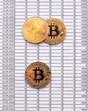Gold Coins Bitcoin on white background with numbers. price of bi. Tcoin concept,  numbers of zero Stock Image