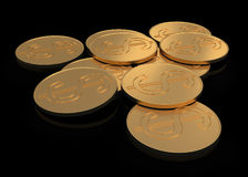 Gold coins on black Royalty Free Stock Images