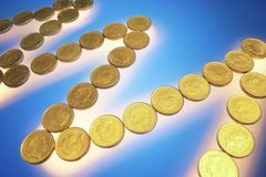 Gold Coins. On Blue Background royalty free stock photos