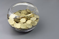 Gold Coins in the Bowl - Financial Concept Stock Photo