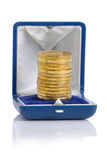 Gold Coins in a box Royalty Free Stock Photo