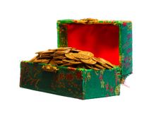 Gold coins in box stock images